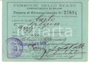 1922 MILANO Ferrovie dello Stato - Tessera riconoscimento per la circolazione