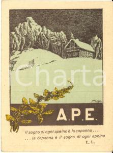 1923 MILANO Tessera A.P.E. Associazione Antialcoolica Proletari Escursionisti