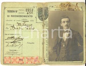 1914 MILANO Unione Operaia Escursionisti Italiani *Tessera Tito BUSI DANNEGGIATA