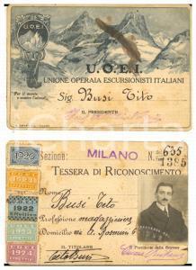 1920 MILANO Unione Operaia Escursionisti Italiani - Tessera Tito BUSI con foto