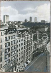 1960 ca MILANO Centro storico - Veduta aerea - Bozzetto per cartolina 28x40 cm