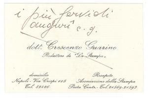 1950 ca NAPOLI Dott. Crescenzo GUARINO