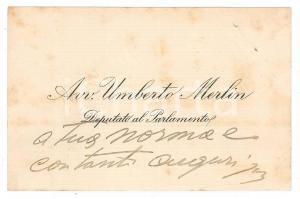 1950 ca Avv. Umberto MERLIN Deputato al Parlamento - Biglietto visita AUTOGRAFO