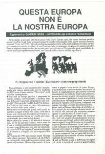 1989 Questa Europa non è la nostra Europa - Supplemento a BANDIERA ROSSA