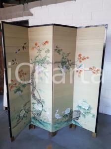 1970 paravento orientale vintage in legno foderato tela dipinta - 183 x 182 cm