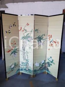 1960 originale paravento cinese vintage dipinto a mano - misure 183 x 182 cm