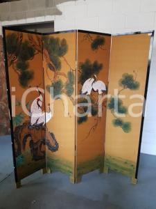 1960 paravento orientale vintage con aironi su albero dipinto - misure 183 x 182 cm