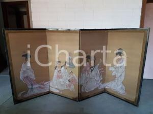 1960 paravento orientale vintage dipinto a mano - misure 122 x 245 cm