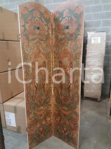 1960 paravento vintage in legno dipinto- misure 198,5 x 95,4 cm