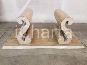 1970 AMERICAN VINTAGE Base tavolo legno ricoperto in marmo tassellato nocciola