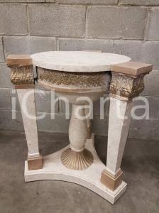 1970 VINTAGE Base rotonda per tavolino ricoperto in pietra tassellata