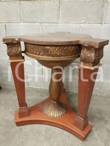 1970 VINTAGE Base rotonda per tavolino in legno dipinto