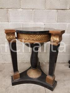 1970 VINTAGE Base rotonda per tavolino ricoperto in marmo tassellato nero