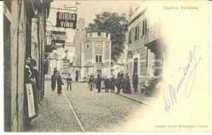 1901 CAPRINO VERONESE Veduta con Piazza Romana - Cartolina ANIMATISSIMA RARA FP
