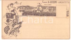 1880 ca MILANO Comm. Augusto GUIDINI archittetto - Cartolina ILLUSTRATA RARA FP