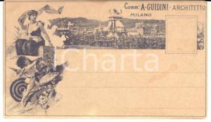 1880 ca MILANO Comm. Augusto GUIDINI archittetto - Cartolina ILLUSTRATA RARA