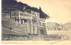 1915 ca COMO via Torno 56 - Ristorante SASSEL - Cartolina ANIMATA carrozza FP