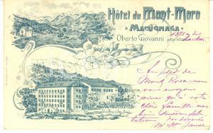 1903 MACUGNAGA Hotel du MONT-MORO di Oberto Giovanni - Cartolina ILLUSTRATA FP