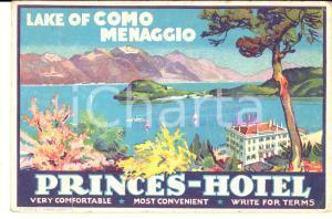 1925 ca MENAGGIO Lago di COMO - PRINCES Hotel - Cartolina illustrata FP NV