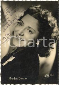1945 BRUXELLES Cantante Michèle DORLAN - AUTOGRAFO su foto seriale HARCOURT