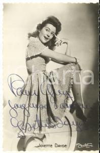 1945 ca Cantante Josette DAYDE - AUTOGRAFO su foto seriale CARLET 9x14 cm