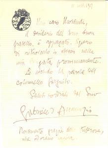 1927 s. l. Gabriele D'ANNUNZIO - Lettera AUTOGRAFA pro futuro soldato MORANDI