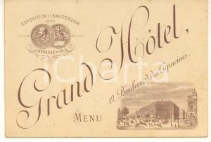 1885 PARIS GRAND-HOTEL Boulevard des Capucines - Menu déjeuner VINTAGE