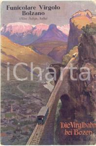 1920 ca BOLZANO Funicolare del VIRGOLO - Cartolina pubblicitaria ILLUSTRATA