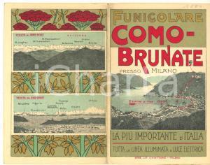 1910 ca Funicolare COMO-BRUNATE - Grand Hotel BRUNATE - Pieghevole RARO