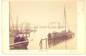 1890 ca AMSTERDAM Veduta del porto  - Fotografia vintage 17x11 cm