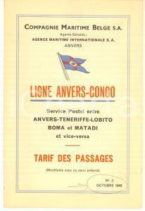 1949 Compagnie Maritime Belge - Ligne ANVERS-CONGO - Tarif des passages