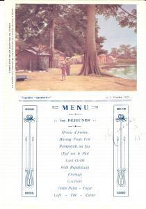 1922 Compagnie Belge Maritime du CONGO Paquebot ANVERSVILLE *Menu déjeuner