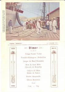1922 Compagnie Belge Maritime du CONGO Paquebot ANVERSVILLE - Menu diner vintage