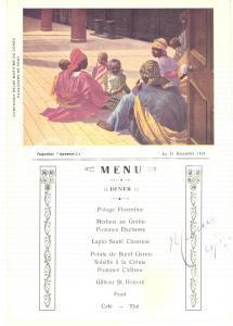 1921 Compagnie Belge Maritime du CONGO Paquebot ANVERSVILLE *Menu diner vintage