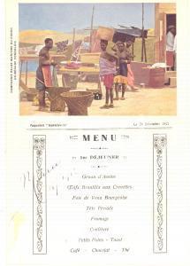 1921 Compagnie Belge Maritime du CONGO - Paquebot ANVERSVILLE - Menu déjeuner