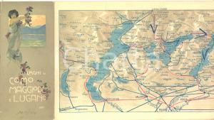 1914 LAGHI DI COMO, MAGGIORE E LUGANO Pieghevole con mappa e orari ill. CASTELLI