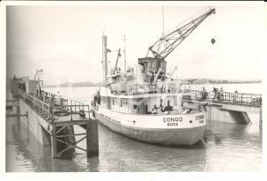 1970 ca BOMA CONGO Imbarcazione BOMA all'attracco - Fotografia 18x12 cm