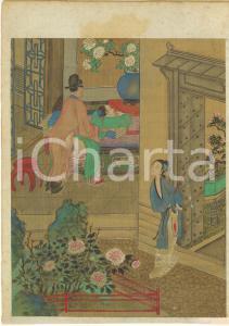 1910 ca JAPAN SHUNGA Erotic antique print on silk - RARE 22x30 cm