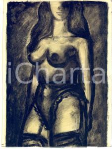 1950 ca EROTICA VINTAGE Ritratto di donna in lingerie - Tempera su carta 19x25
