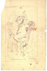 1900 ca Yvan BOROSKY Nymphe enlevée par un faune *China su carta (copia CABANEL)