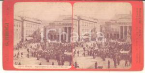 1890 ca GENOVA Piazza DE FERRARI in tempo di mercato - Foto stereoscopica BROGI