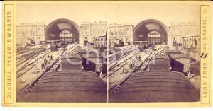 1890 ca TORINO Stazione PORTA NUOVA - Interno - Foto stereoscopica BROGI RARA
