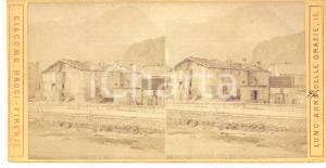 1890 ca MONCENISIO Veduta della stazione ferroviaria - Foto stereoscopica BROGI