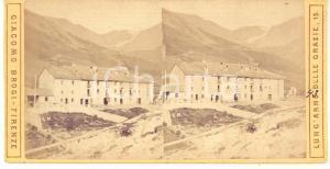 1890 ca MONCENISIO - Stazione di posta - Foto stereoscopica Giacomo BROGI