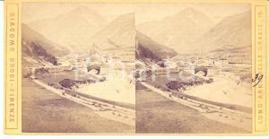 1890 ca LANSLEBOURG-MONT-CENIS Veduta con ponte in costruzione - Stereoscopica