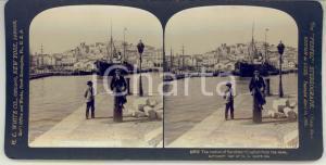 1907 CAGLIARI (SARDEGNA) Due uomini al porto - Foto stereoscopica H. C. WHITE