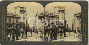 1907 SARDEGNA CAGLIARI Cittadini in Piazza Costituzione - Foto stereoscopica