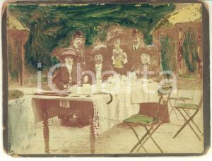 1909 GROENENDAAL (BELGIUM) Ritratto di famiglia - Foto vintage colorata 12x9 cm