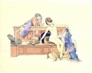 1930 ca EROTICA VINTAGE Odalisca nuda con ricco offerente - Acquerello 24x19 cm