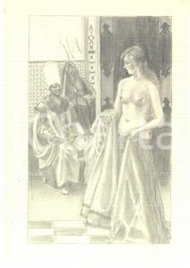 1950 ca EROTICA VINTAGE Scena araba - Giovane donna si spoglia - Disegno 18x26